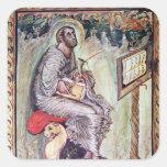Ms 1 fol.90v St Luke, de los evangelios de Ebbo Pegatina Cuadrada