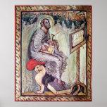 Ms 1 fol.90v St Luke, de los evangelios de Ebbo Póster