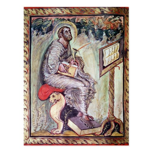 Ms 1 fol.90v St Luke, de los evangelios de Ebbo Tarjetas Postales