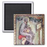 Ms 1 fol.90v St. Luke, from the Ebbo Gospels 2 Inch Square Magnet