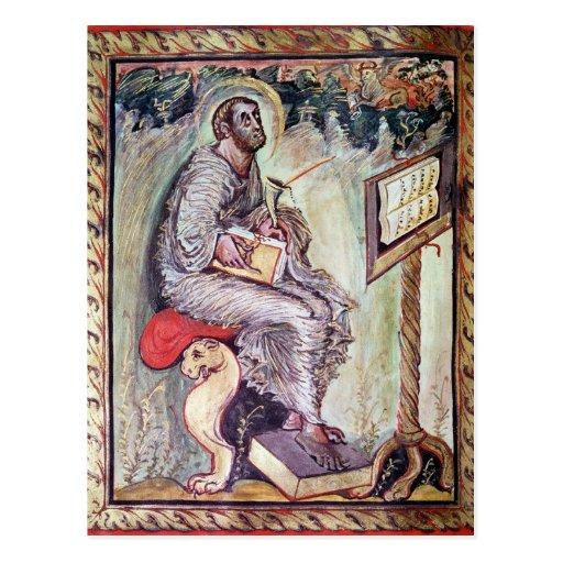 Ms 1 fol.90v St. Luke, from the Ebbo Gospels Postcard