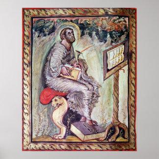 Ms 1 fol.90v St. Luke, from the Ebbo Gospels Poster
