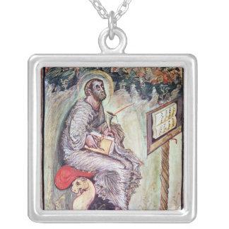 Ms 1 fol.90v St. Luke, from the Ebbo Gospels Square Pendant Necklace
