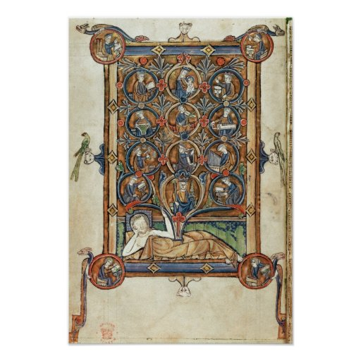 Ms 21926 The Tree of Jesse from a psalter Posters
