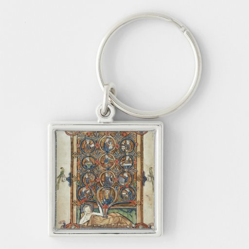 Ms 21926 The Tree of Jesse from a psalter Silver-Colored Square Keychain