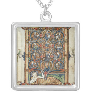 Ms 21926 The Tree of Jesse from a psalter Silver Plated Necklace