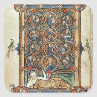 Ms 21926 The Tree of Jesse from a psalter Square Sticker