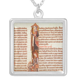 Ms 21 fol.97 Ruth and Boaz, from a Bible Silver Plated Necklace