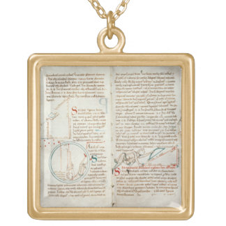 Ms 235 f.32 & 33 Geometry, from a 'Traite d'Astron Square Pendant Necklace