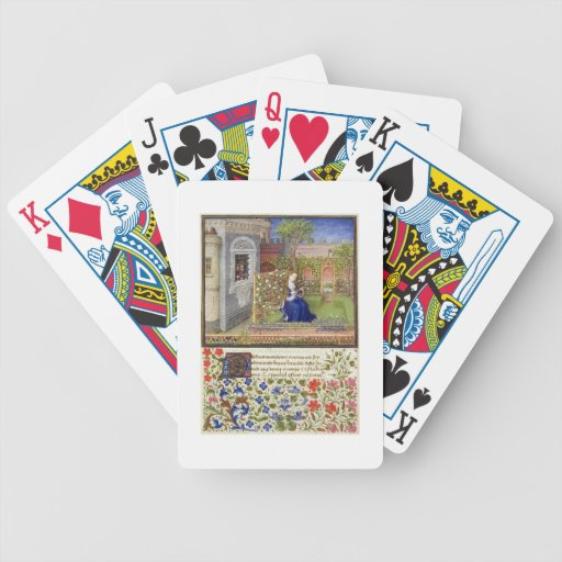 Ms 2617 Emilia in her garden, Plate 22, from 'La T Bicycle Playing Cards