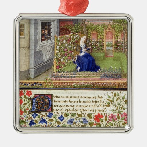 Ms 2617 Emilia in her garden, Plate 22, from 'La T Square Metal Christmas Ornament