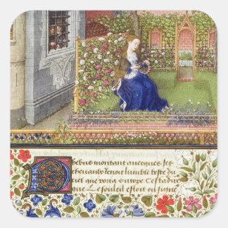 Ms 2617 Emilia in her garden, Plate 22, from 'La T Square Sticker