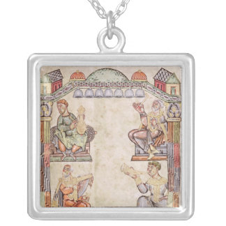 Ms 2 fol.11  Four Musicians, from a Book of Hours Silver Plated Necklace