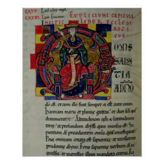 Ms 2 fol.8 Historiated initial 'O' depicting a fig Poster