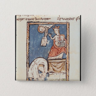 Ms 3516 f.127 The Juggler of Notre Dame Pinback Button