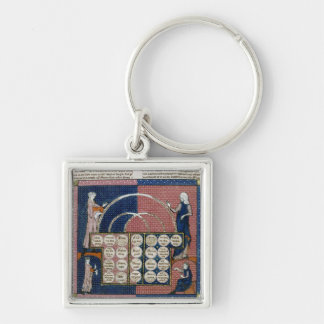 Ms 360 fol.262v Tree of Consanguinity Silver-Colored Square Keychain