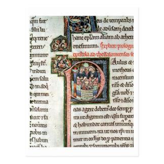 MS 3 Fol. 291v The Escape of Saint Paul from Damas Postcard