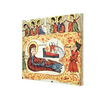Ms 404 fol 1v la natividad de un evangelio lienzo envuelto para galerías