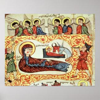 Ms 404 fol.1v la natividad, de un evangelio poster