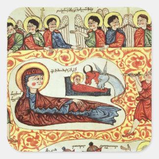 Ms 404 fol.1v la natividad, de un evangelio pegatina cuadrada