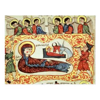 Ms 404 fol 1v la natividad de un evangelio tarjeta postal