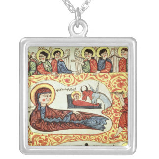 Ms 404 fol.1v The Nativity, from a Gospel Square Pendant Necklace