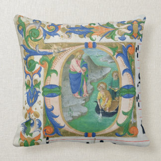 Ms 515 f.1r The Miraculous Draught of Fishes, from Throw Pillow