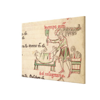 Ms 54. f.6r November: Killing the Pig, from a Cist Canvas Print
