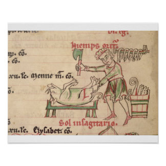 Ms 54. f.6r November: Killing the Pig, from a Cist Posters