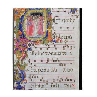 Ms 557 f.61v Page with historiated initial 'U' dep iPad Folio Cases