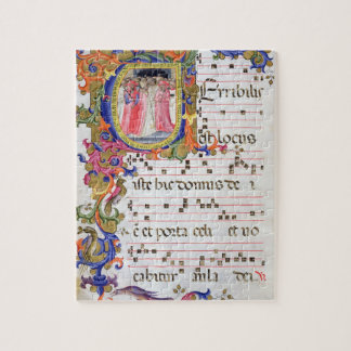 Ms 557 f.61v Page with historiated initial 'U' dep Jigsaw Puzzles