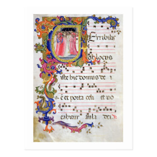 Ms 557 f.61v Page with historiated initial 'U' dep Postcard