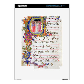 Ms 557 f.61v Page with historiated initial 'U' dep Skins For iPad 3