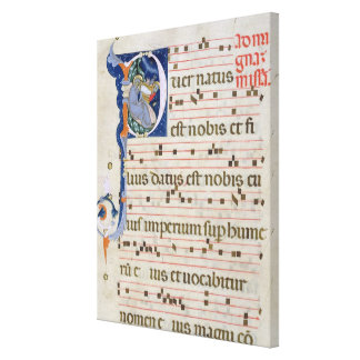 Ms 561 Page with historiated initial 'P' depicting Canvas Print