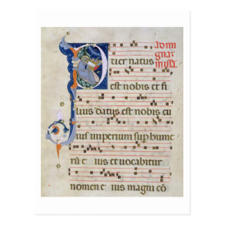 Ms 561 Page with historiated initial 'P' depicting Postcard