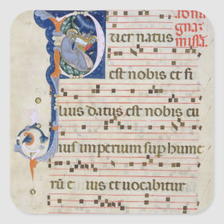Ms 561 Page with historiated initial 'P' depicting Square Sticker