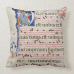 Ms 561 Page with historiated initial 'P' depicting Throw Pillow