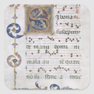Ms 564 f.13v Page with historiated initial 'S' dep Square Sticker