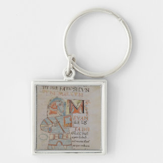 Ms 8 f.42 St. Mark the Evangelist Silver-Colored Square Keychain