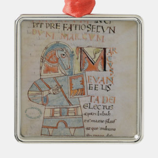 Ms 8 f.42 St. Mark the Evangelist Square Metal Christmas Ornament