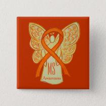 MS Awareness Ribbon Orange Angel Custom Buttons