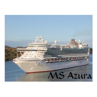 MS Azura Cruise Ship Close-Up on Antigua Postcard