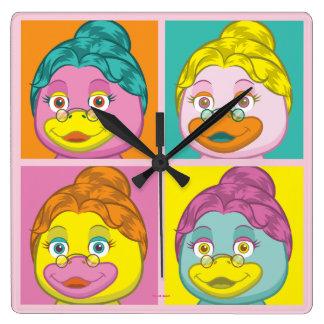 Ms. Birdy Pop Art Square Wall Clock