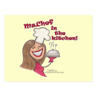 Ms.Chef in the kitchen Postcard