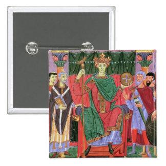 Ms Cim.4453 f.42r Holy Roman Emperor Otto III Enth 2 Inch Square Button