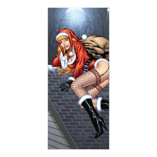 Ms Claus On The Rooftop Delivering Santas Presents Card