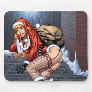 Ms Claus On The Rooftop Delivering Santas Presents Mouse Pad