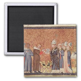 Ms Cotton Tib B VIII f.47 Coronation Scene 2 Inch Square Magnet