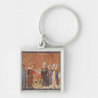 Ms Cotton Tib B VIII f.47 Coronation Scene Silver-Colored Square Keychain