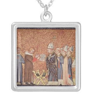 Ms Cotton Tib B VIII f.47 Coronation Scene Silver Plated Necklace